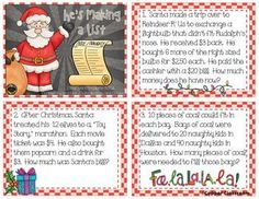 Multi-Step Word Problem Task Cards 3.OA.8 Christmas Themed Christmas Math, Christmas Activities, Classroom Activities, Christmas Themes, Math Stations, Math Centers, Teacher Tools, Addition And Subtraction, Word Problems