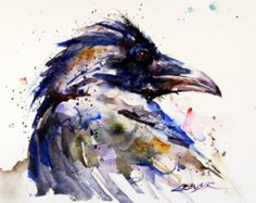 RAVEN aquarel afdrukken door Dean Crouser