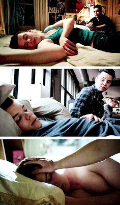Mickey watching Ian sleep