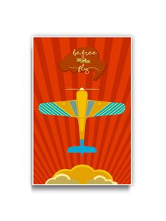 Striped Airplane Print Typography Poster by TheCameraGraphic