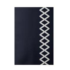 Tapis intérieur/extérieur bleu marine géométrique