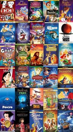 Disney movies.... For a sleepover I plan, we will end up watching at least three Disney movies and 2 romantic comedies. XD