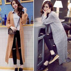 e7de177609 Cardigan Long Sleeve Loose Long Split Knit Sweater Coat Jacket
