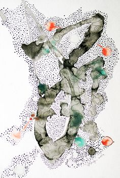 """""""Galaxy"""", Painting on rice paper with Chinese ink, Chinese pigments and ink pen, 22 x 30 cm-Studio Ding Yi Rice Paper, Chinese, Ink, Studio, Painting, Painting Art, Studios, Paintings, India Ink"""