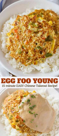 Egg Foo Young is a Chinese egg omelette dish made with vegetables like carrots, . - Egg Foo Young is a Chinese egg omelette dish made with vegetables like carrots, peas and bell peppe - Vegetarian Chinese Recipes, Easy Chinese Recipes, Asian Recipes, Healthy Recipes, Healthy Food, Egg Fu Young Recipe, Chinese Egg Foo Young Recipe, Vegetarian Egg Foo Young Recipe, Vegetable Egg Foo Young Recipe