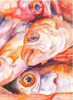 Watercolor Painting Print Fish by WoodPigeon on Etsy Natural Forms Gcse, Fish Monger, Orange Wall Art, Orange Fish, Fish Wall Art, Fish Print, Painting Still Life, Watercolor Paintings, Watercolour