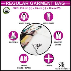 Instantly streamline and protect your wardrobe by storing your favourite suits, dresses, jackets, coats and more in Kazzi Kovers Regular Garment Bags.  Each bag is custom made from breathable 100% Cotton and is designed to safeguard against dirt, dust, moths (especially moths), mould and moisture throughout the seasons.  Gotta love that!  Size: 110 cm (H) x 65 cm (L) x 10 cm (W)  Available individually or in packs.