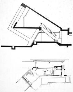"""Sección y planta """"Drusch house"""" / Versailles / Claude Parent y Paul Virilo / Home Room Design, Small House Design, Cool House Designs, Modern House Design, A Frame House Plans, House Floor Plans, Concept Architecture, Architecture Details, Casas Containers"""
