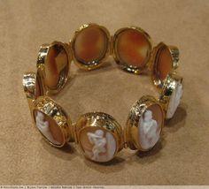 Bracelet ancien - époque  romantique - or et camées anciens - 19ème siècle