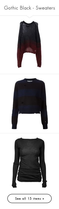 """""""Gothic Black - Sweaters"""" by zakhx ❤ liked on Polyvore featuring black, gothic, sweaters, tops, shirts, jumpers, knit top, knit shirt, shirt top and jumper shirt"""