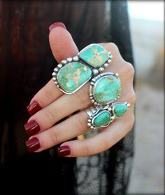 Turquoise Statement Ring Two Stone Turquoise by SterlingToLove
