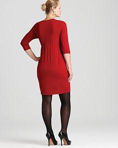 Karen Kane Plus Pleated Wrap Top Dress   Bloomingdale's