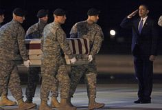 U.S. President Barack Obama participates in the dignified transfer of U.S. Army Sgt. Dale R. Griffin at Dover Air Force Base, Delaware
