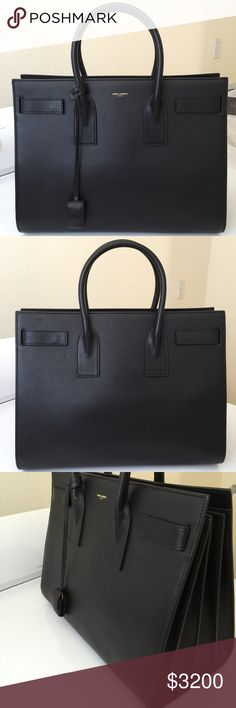 Saint Laurent Sac De Jour Carryall Black leather with Gold hardware. Ordered it New from Barneys online but there are a few light marks, I'm assuming it was the floor model on display. LARGE SIZE. Comes with original dustbag & keysNO TRADES Saint Laurent Bags