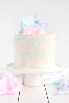 Cotton Candy Cake with cotton candy buttercream.