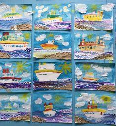 «Корабли уходят в море». Рисование с элементами аппликации (старшая группа) Фото
