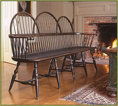 HOME DECOR – SEATING – WINSOR SETTEE – Triple Bow-back Settee by Richard Grell---that'd be nice by a front door in a long entrance hallway or something.i can picture taking off winterboots haha Colonial Furniture, Primitive Furniture, Country Furniture, Country Decor, Primitive Decor, Primitive Antiques, Country Living, Windsor Bench, Windsor Chairs