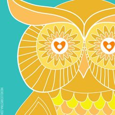 Sunshine Sugar Owl Large Format Art Print by michellechristina, via Etsy.