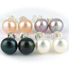 Set of 4 Freshwater Cultured 7-8mm Pearl Button Stud Sterling Silver Earrings