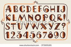 Tribal ethnic bright vector alphabet and number Hand drawn graphic font in african or indian style Primitive simple stylized design