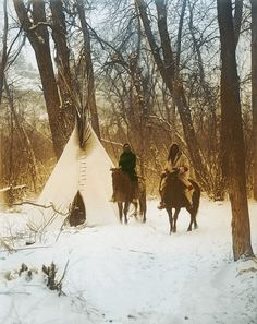 The Winter Camp - Crow - Apsaroke - American Indians. Created from the photo: The winter camp--Apsaroke - - by Edward S. Curtis Two Apsaroke people on horseback outside a tipi in a thicket of trees; Native American Indians, Native Americans, Trail Of Tears, Winter Camping, Le Far West, Mountain Man, Native Indian, First Nations, Old Photos