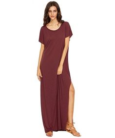 Online shopping for Burgundy Side Slit Loose Fit Maxi Tee Dress from a great selection of women's fashion clothing & more at MakeMeChic. Backless Sweater, Maxi Robes, Maxi Styles, Burgundy Dress, Tee Dress, Dresses Online, Short Sleeve Dresses, Fashion Outfits, Women's Fashion