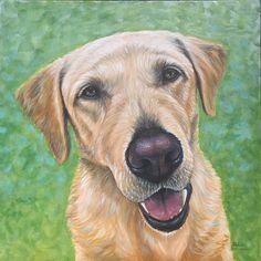 Duke, yellow lab painting