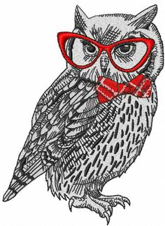 Owl in glasses embroidery design. Machine embroidery design. www.embroideres.com