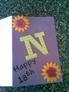 Happy 18th birthday card with flowers and chipboard N