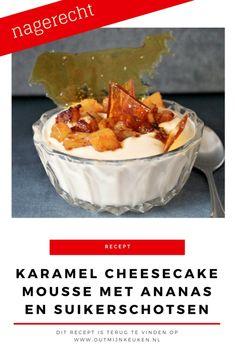 Karamel cheesecake mousse met suikerschotsen