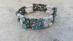 Glass Slider Bracelet-Blue Glass Bracelet-Something Blue-Wedding Bracelet-All Occasion-Bridesmaid Bracelet- Flower Slider Bracelet-Summer by BabaJewelryandBeads on Etsy