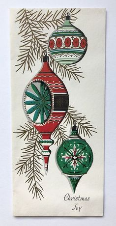 Vintage Christmas Card Mid Century Bulb Ornament Gold Pink Indent Stripe Pine A - reminds me of when I was a kid Painted Christmas Cards, Vintage Christmas Images, Old Christmas, Old Fashioned Christmas, Vintage Christmas Ornaments, Retro Christmas, Christmas Bulbs, Christmas Sayings, Christmas Gifts