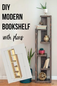 Easy DIY modern bookshelf idea with plans. Makes a great display shelf! Simple project for living room or dining room or any modern mid century space. # diy furniture easy How To Build A Modern DIY Bookshelf - In 5 Steps Diy Furniture Easy, Diy Furniture Projects, Furniture Plans, Furniture Makeover, Rustic Furniture, Modern Furniture, Diy Living Room Furniture, Outdoor Furniture, Antique Furniture
