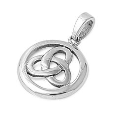 "Sterling Silver Triquetra Infinity Pendant 18MM (Free 18"" Chain)"