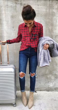#winter #outfits red and black plaid sport shirt