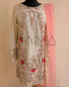 """Flower Arch"" Shades of Carrot Pink on Ivory lace. Embellished with tulip roses, grape vines, mirror work and lots of love! DM for inquires Pakistani Formal Dresses, Pakistani Party Wear, Pakistani Wedding Outfits, Pakistani Couture, Indian Dresses, Indian Outfits, Eastern Dresses, Pakistan Fashion, Desi Clothes"