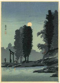Shotei Japanese Woodblock Print Moonrise at Shrine 1936 | eBay