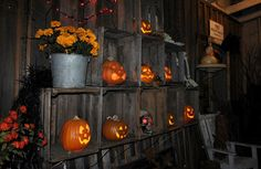 Jack-o-lanterns in apple crates... Flowers instead