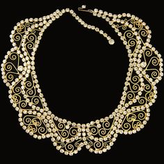 Hattie Carnegie (unsigned) Diamante and Gold Scrolls Wide Collar Necklace