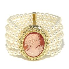 "AMEDEO NYC ""Marisa Style"" Cameo Beaded Stretch Bracelet"