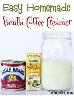Sweeten up your morning Cup of Joe with this delicious Easy Homemade Vanilla Coffee Creamer! Just 3 ingredients and you're done! SO easy!!