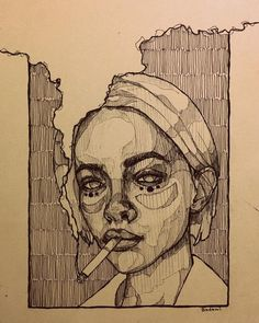 Art Sketches Ideas - Mohamed Badawy on she smelled of cigarettes a. Arte Sketchbook, Art Drawings Sketches, Sketch Drawing, Contour Drawings, Cool Sketches, Anime Sketch, Tattoo Sketches, Tattoo Drawings, Sketching