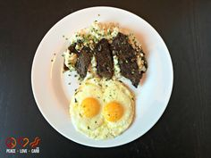 Steak and Eggs with Sour Cream and Chive Cauliflower Mash  | Peace Love and Low Carb