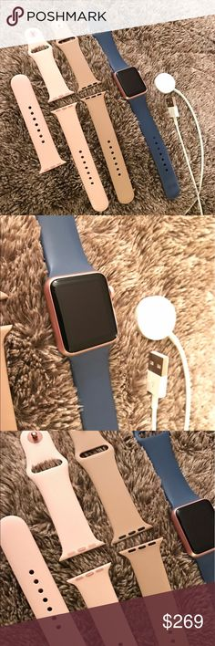 Apple Watch Rose Gold 38 mm Series 1 *NOT ACCEPTING TRADES*PRICE IS FIRM* Got for CHRISTMAS but do not use.  Think I'm too old for EVERYTHING it does (overwhelms me ).  LIKE NEW!  Only used like three times.  Buyer will receive extra bands as well.  Comes in original box with all paperwork intact. Touchscreen display, sends and receives calls, sends and receives text, up to 18 hours of battery life, Wi-Fi, Bluetooth, Heart Rate Sensor etc... Apple Watch Accessories Watches