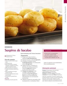 Suspiros de bacalao Kitchen Dishes, Food N, Canapes, Fish And Seafood, Make It Simple, Cooker, Bread, Fruit, Vegetables