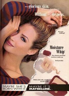 Christy Turlington 90s Makeup, Retro Makeup, Vintage Makeup, Vintage Advertisements, Vintage Ads, Beauty Magazine, Magazine Ads, Magazine Covers, Maybelline Makeup