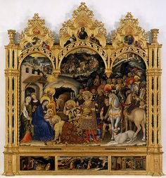 "Lecture 8 - Art That Moves Us - Time and Motion:  da Fabriano, Gentile. Adoration of the Magi. 1423. Tempera on wood, 9'10"" x 9'3"" (3 x 2.82 m). Galleria deli Uffizi, Florence, Italy."