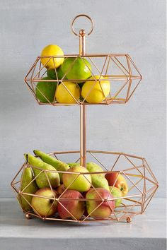 Buy Rose Gold 2 Tier Fruit And Veg Storage from the Next UK online shop Cool Kitchen Gadgets, Kitchen Items, Home Decor Kitchen, Cool Kitchens, Kitchen Appliance Storage, Kitchen Organisation, Perfect Gin And Tonic, Tiered Fruit Basket, Rose Gold Kitchen