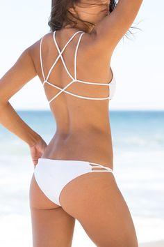 The Girl and The Water - Frankie's Bikinis - Kaia Bikini Bottom White - $79