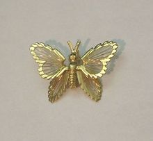 Monet Gold Tone Butterfly Filigree Pin